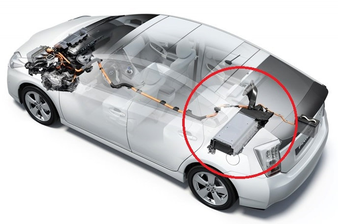 toyota prius hybrid battery high voltage diagram behind the back seat